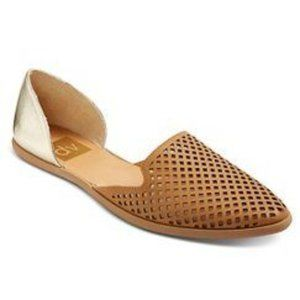dv Paige perforated toe gold heel ballet flat 9.5